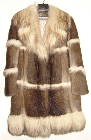 David Green  Fur Coat - Natural Muskrat with bleached Raccoon trim & collar