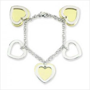 Two-Tone Heart Charm Bracelet