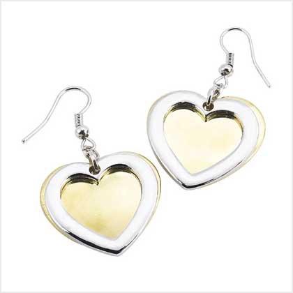 Two-Tone Heart Earrings