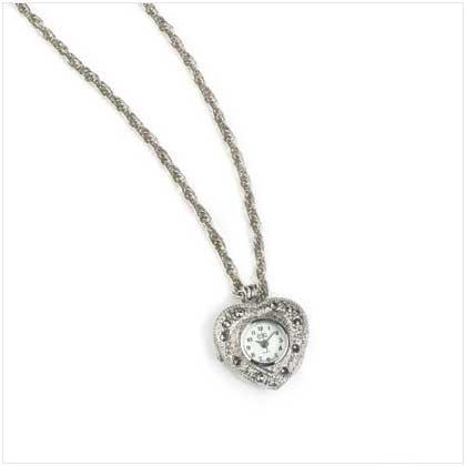 Silver Heart Pendant Watch