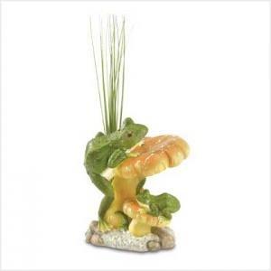 Mushroom Scene Frog Figurine