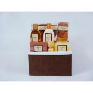 "6 Pc Gift Set In Suede Basket, ""Gingerbread Vanilla"","