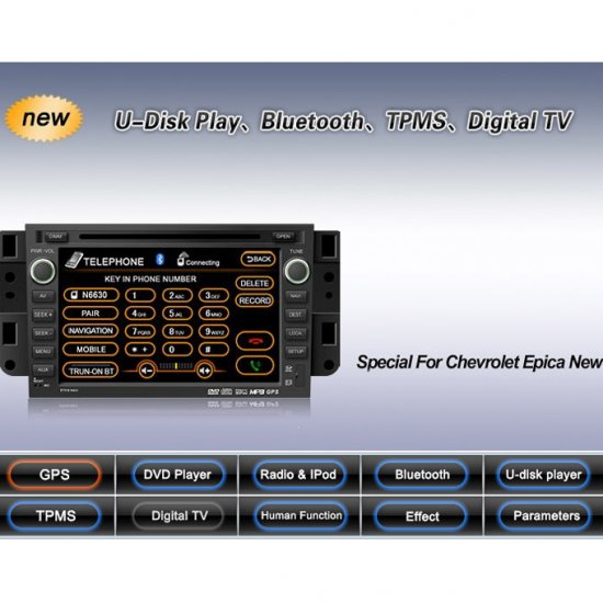 Advanced & High Quality Car DVD GPS Player for Chevrolet Epica New + IPOD ready Bluetooth