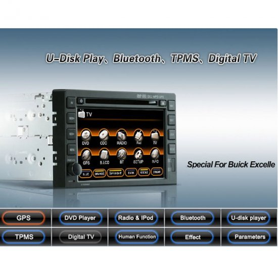 "Auto DVD player with in dash GPS Navigation and 7"" HD touch screen and RDS PIP for GMC BUICK"