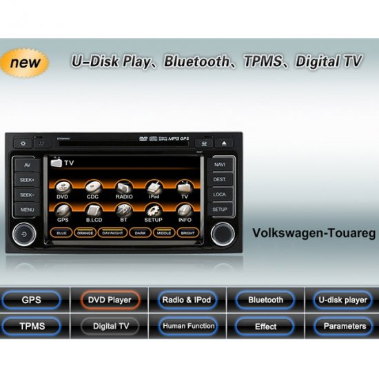 Advanced & High Quality 2 Din Car DVD GPS Player for VW Touareg + IPOD ready Bluetooth