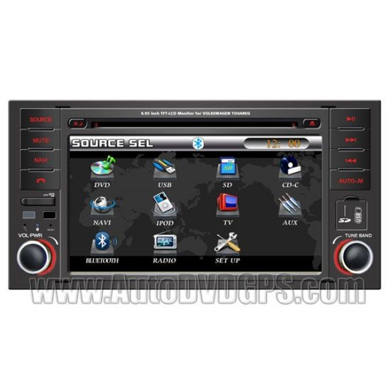 """Car DVD player with built-in GPS navigation and 7"""" LCD touchscreen Bluetooth Radio for VW Touareg"""