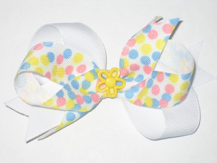 Yellow and Blue Loopy Hair Bow