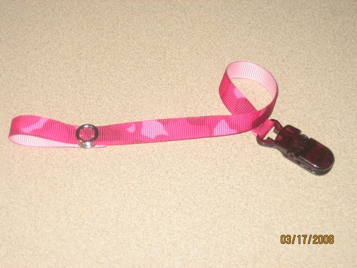 Sassy Straps Pacifier Pal Hot Pink Camo