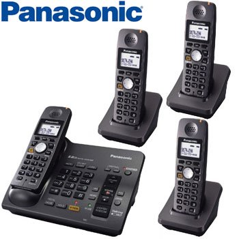 PANASONIC® 5.8 GHz DIGITAL CORDLESS ANSWERING SYSTEM with 4 HANDSETS