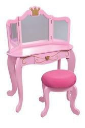 Princess Diva Table and Stool - Color: Pink with gold accent