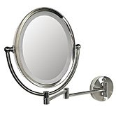 8X/1X DIMMABLE LIGHTED OVAL WALL MAKEUP MIRROR~FOGLESS