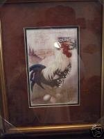 Framed and Matted Rooster Picture