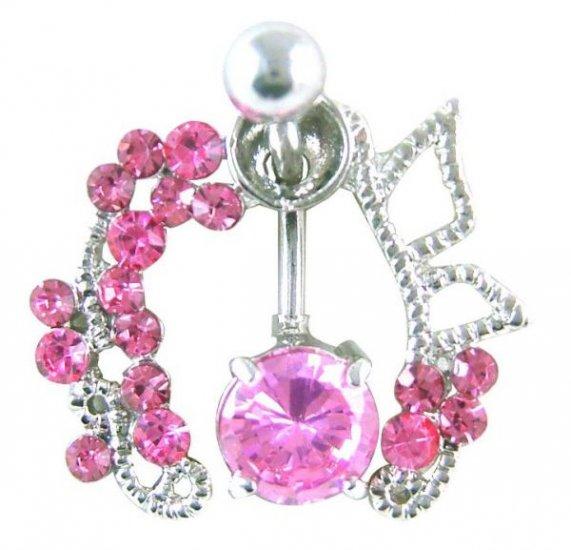 Pink Gem Shield 14 Gauge Navel Ring