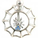 Blue Gem Spider in Spiderweb 14 Gauge Belly Navel Ring