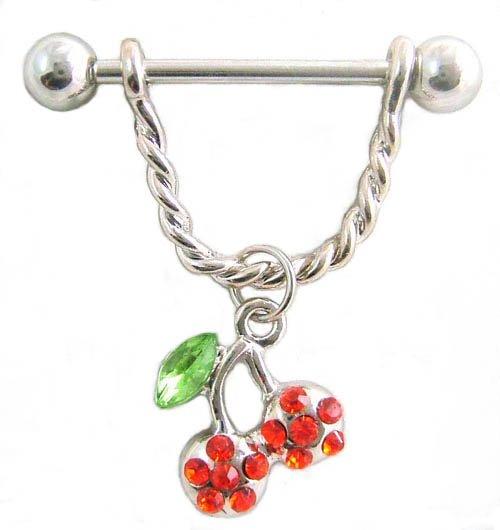Red Gem Cherries 14 Gauge Nipple Ring