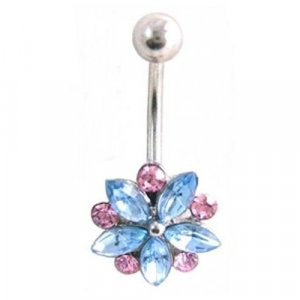 Fancy Gem Flower 14 Gauge Navel Belly Ring