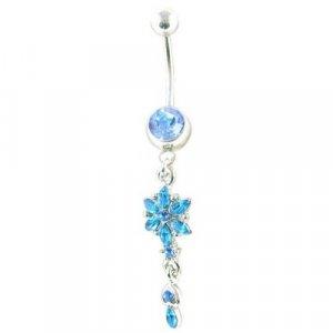 Blue Gem Flower Dangle 14 Gauge Navel Belly Ring Body Jewelry