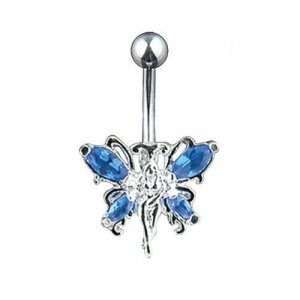 Blue Gem Winged Fairy 14 Gauge Body Jewelry Navel Belly Ring