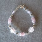 Pink Lampwork with Silver Handmade Beaded Bracelet with Oval Floral Designed Beads