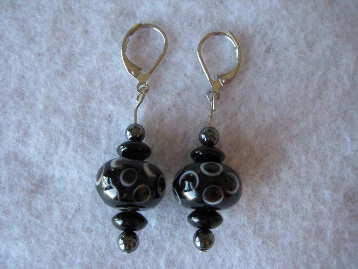 Black Lampwork Handmade Beaded Earrings with Silver