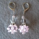 Pink Lampwork with Silver Handmade Beaded Earrings