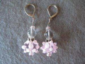 Pink Lampwork with Silver Handmade Beaded Earrings