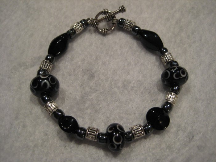 Black River Lampwork Handmade Beaded Bracelet with Hematite and Silver Beads