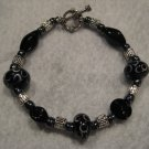 Black River Lampwork Handmade Beaded Bracelet with Hematite and Silver Beads