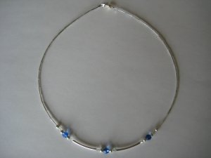 Swarovski Crystal and Blue Faceted Beads Handmade Beaded Necklace with Silver Round and Spacer Beads