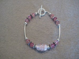 Pink Swarovski Crystal and Silver Handmade Beaded Bracelet with a Floral Design