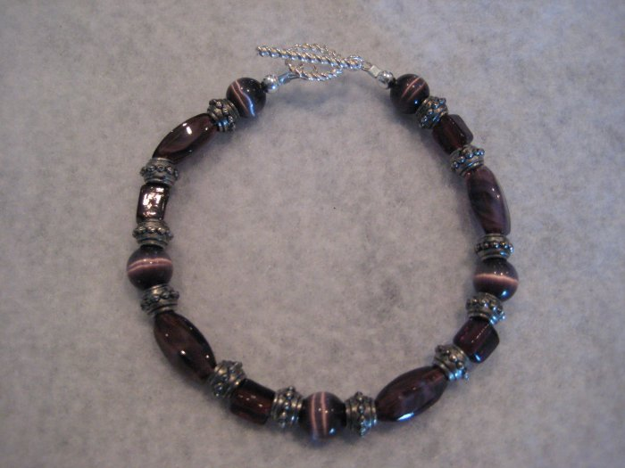 Amethyst and Silver with Purple Cat's Eye Handmade Beaded Bracelet
