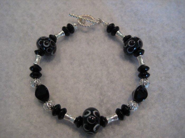 Black Lampwork with Silver Handmade Beaded Bracelet