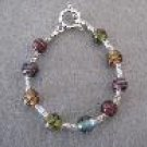 Muti Colored Handmade Beaded Bracelet with Blue, Purple, Red, Green, Amber and Silver
