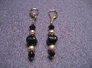 Black with Silver Handmade Beaded Earrings