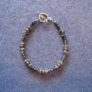 Dark Grey Hematite Handmade Beaded Bracelet with Silver