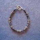 Dark Grey Hematite Handmade Beaded Bracelet with Silver