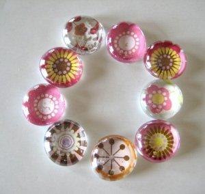 Burst of Color Floral Marble Magnets