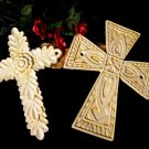 Set/2 Antiqued White Cast Iron Crosses