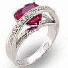 Ruby Heart CZ ladies ring