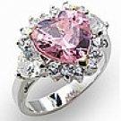 Rosette Pink Heart CZ Ring
