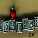 Teacher Blocks pin  pewter FREE SHIPPING
