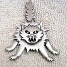 Scaredy Cat pin in pewter free shipping