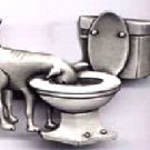 Dog in Toilet pin Pewter  free shipping