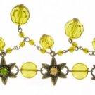 Daisy Victorian Charm Bracelet w/ Olive Stones & Beads