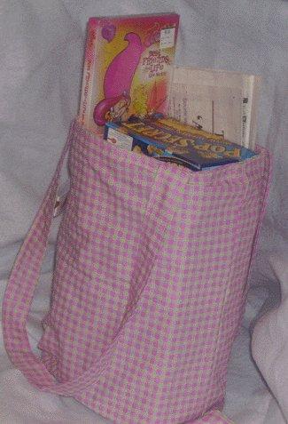 Pink & White Checkered Tote Bag