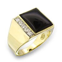 Mens Wide Classic Line CZ Ring