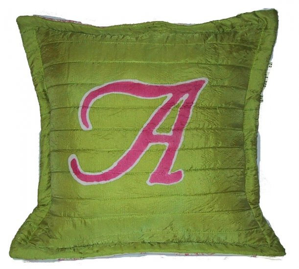 hand painted silk initial pillow