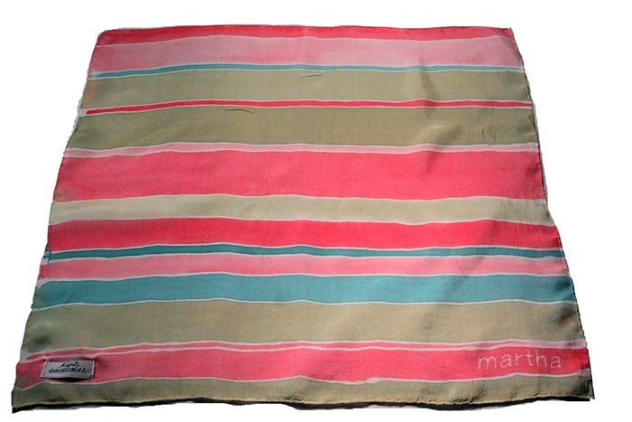 custom hand painted silk scarf with stripes