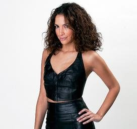 Giovanni Navarre Solid Genuine Leather Halter Top.