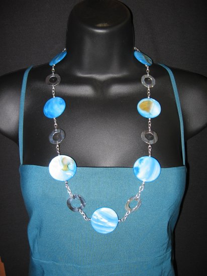 "29"" Turquoise Ripple Shell Necklace"